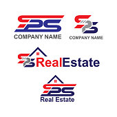 real estate design, design letters sps isolated white background
