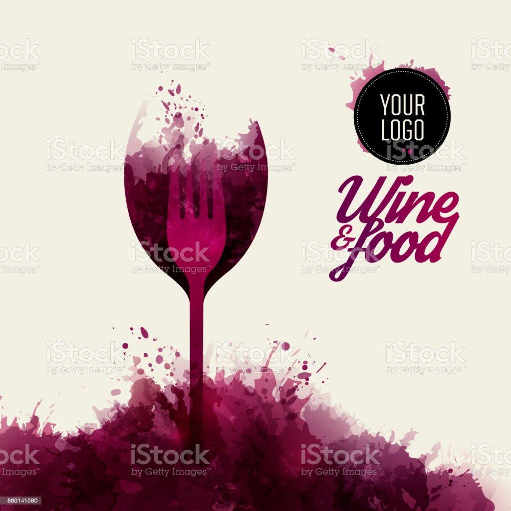 Projetar o conceito de vinho e comida. Manchas de vinho de fundo. - ilustração de arte em vetor