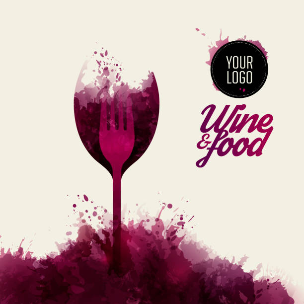 Design concept wine and food. Background wine stains. vector art illustration