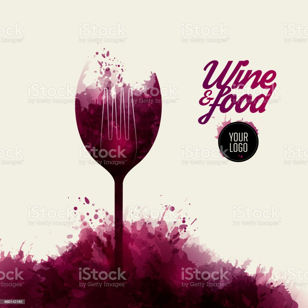 Design concept wine and food. Background wine stains.