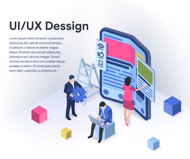 UI / UX design concept with character and text place. Modern flexible phone in 3d isometric style. vector art illustration