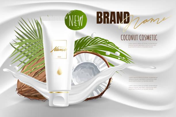design kosmetik produktwerbung für katalog, magazin. mock up von kosmetischen paket. feuchtigkeitscreme, gel, milchkörperflocken mit kokosöl. - naturseife stock-grafiken, -clipart, -cartoons und -symbole
