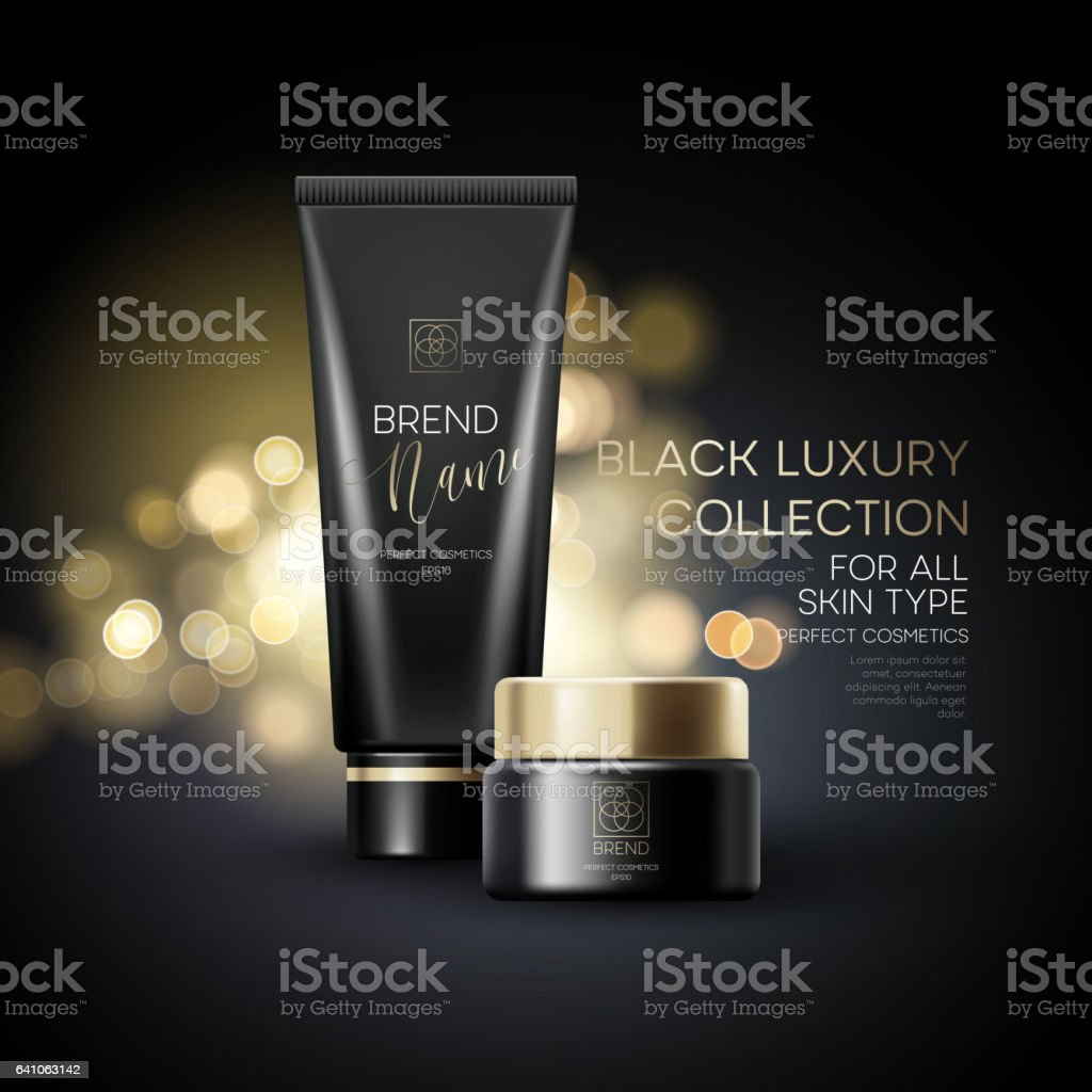 Design cosmetics product advertising on black background. Vector illustration