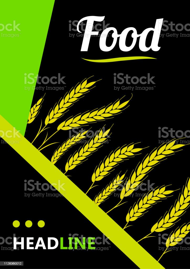 Design Cover Gold Wheat Ears Organic Wheat Bread Agriculture