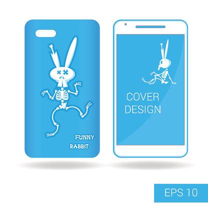 Design cover mobile smartphone: dancing funny rabbit skeleton. Cartoon style