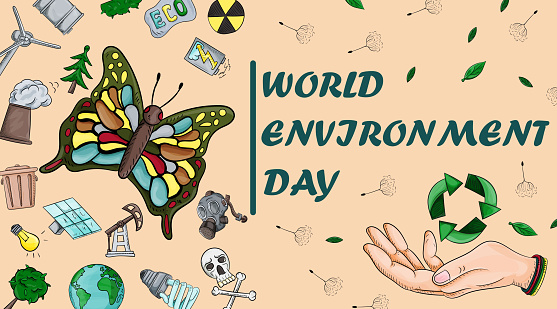 design cover of various objects_4_of human life, the theme of world environment day, for the design of the backgrounds of printed products and the web