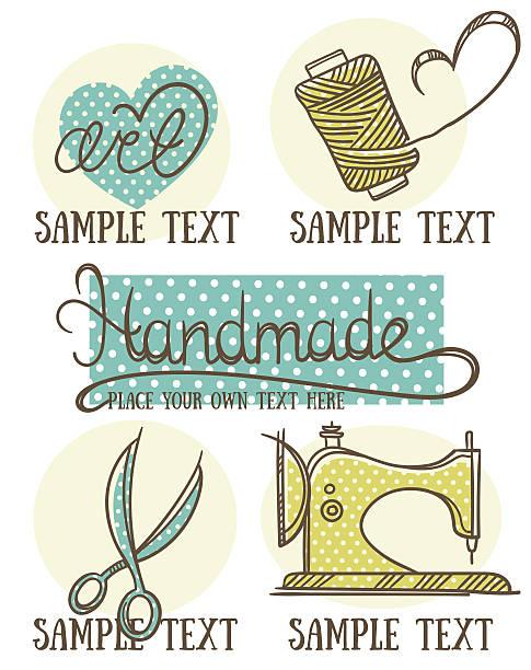 design, kunsthandwerk und handgefertigten logo, symbol und embleme im doodle-stil - herzkissen stock-grafiken, -clipart, -cartoons und -symbole