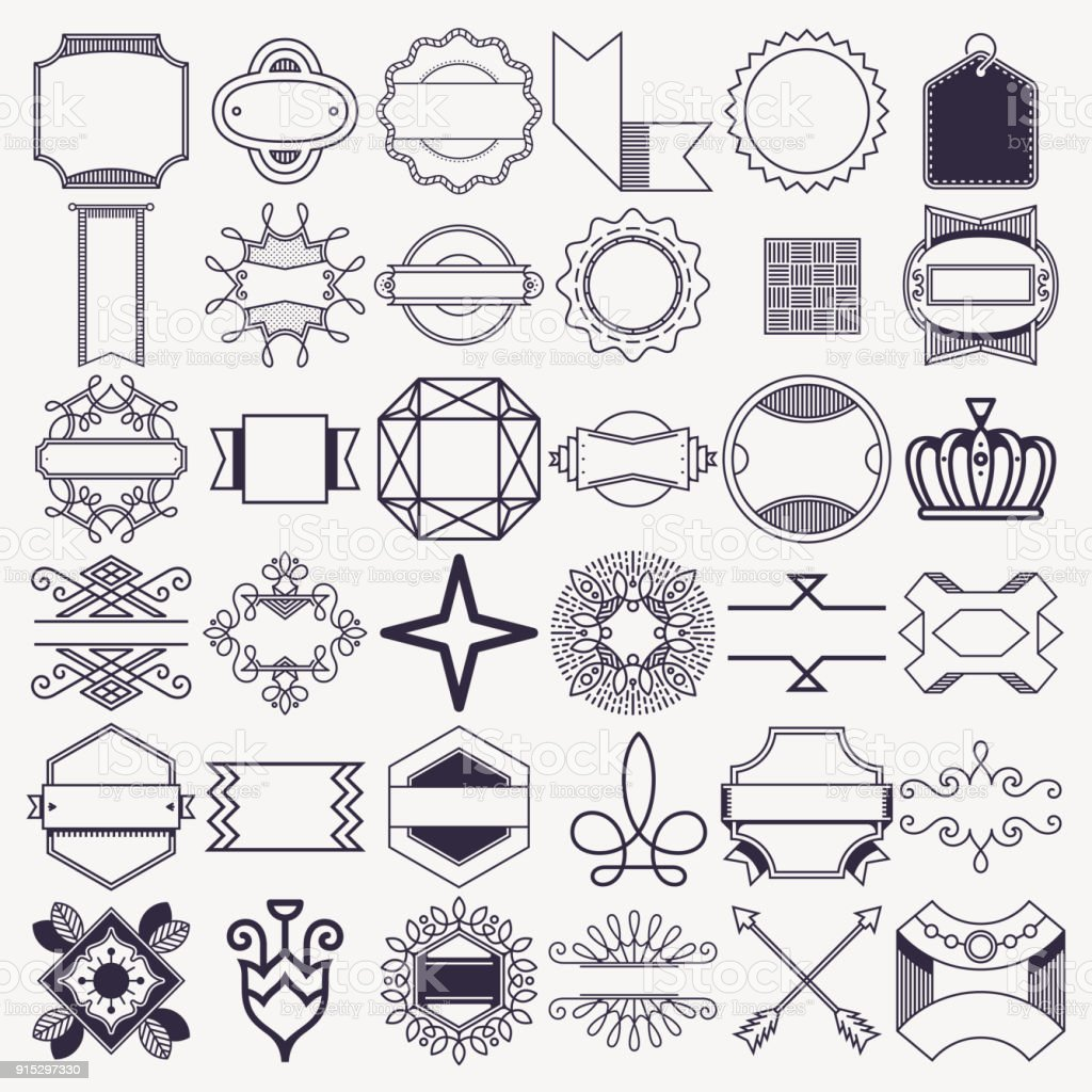 Design Decoration Elements Set 3. Outline Vector Illustrations. vector art illustration