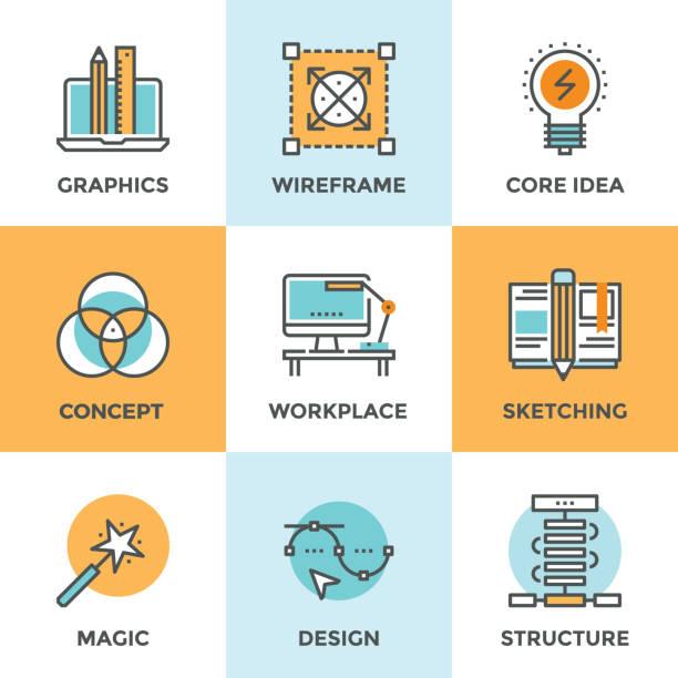 Design development line icons set vector art illustration