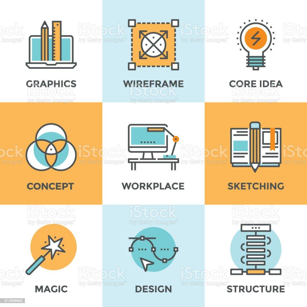 Diseño conjunto de iconos de línea desarrollo - ilustración de arte vectorial