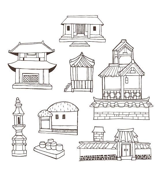 design-element-kollektion für traditionelle architektur und - dachpfannen stock-grafiken, -clipart, -cartoons und -symbole