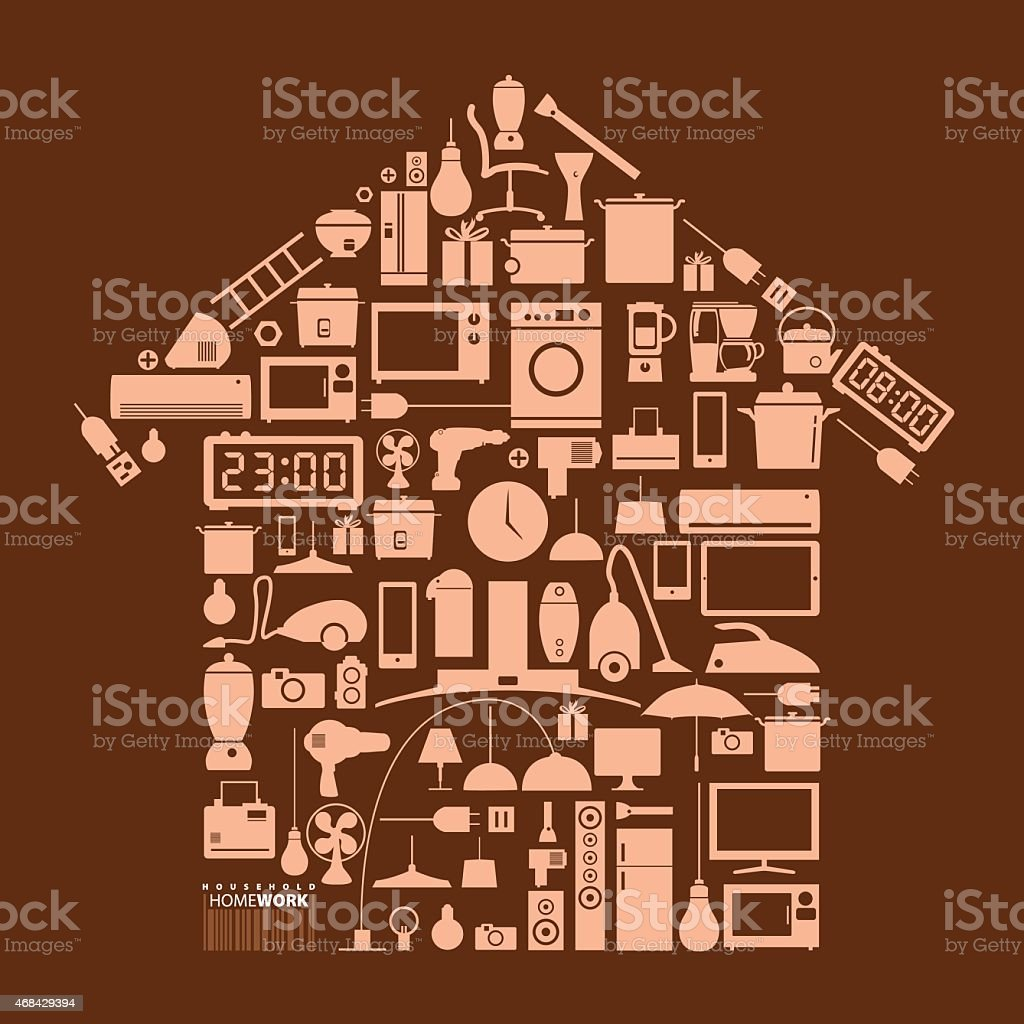 Design element household in home shape vector art illustration