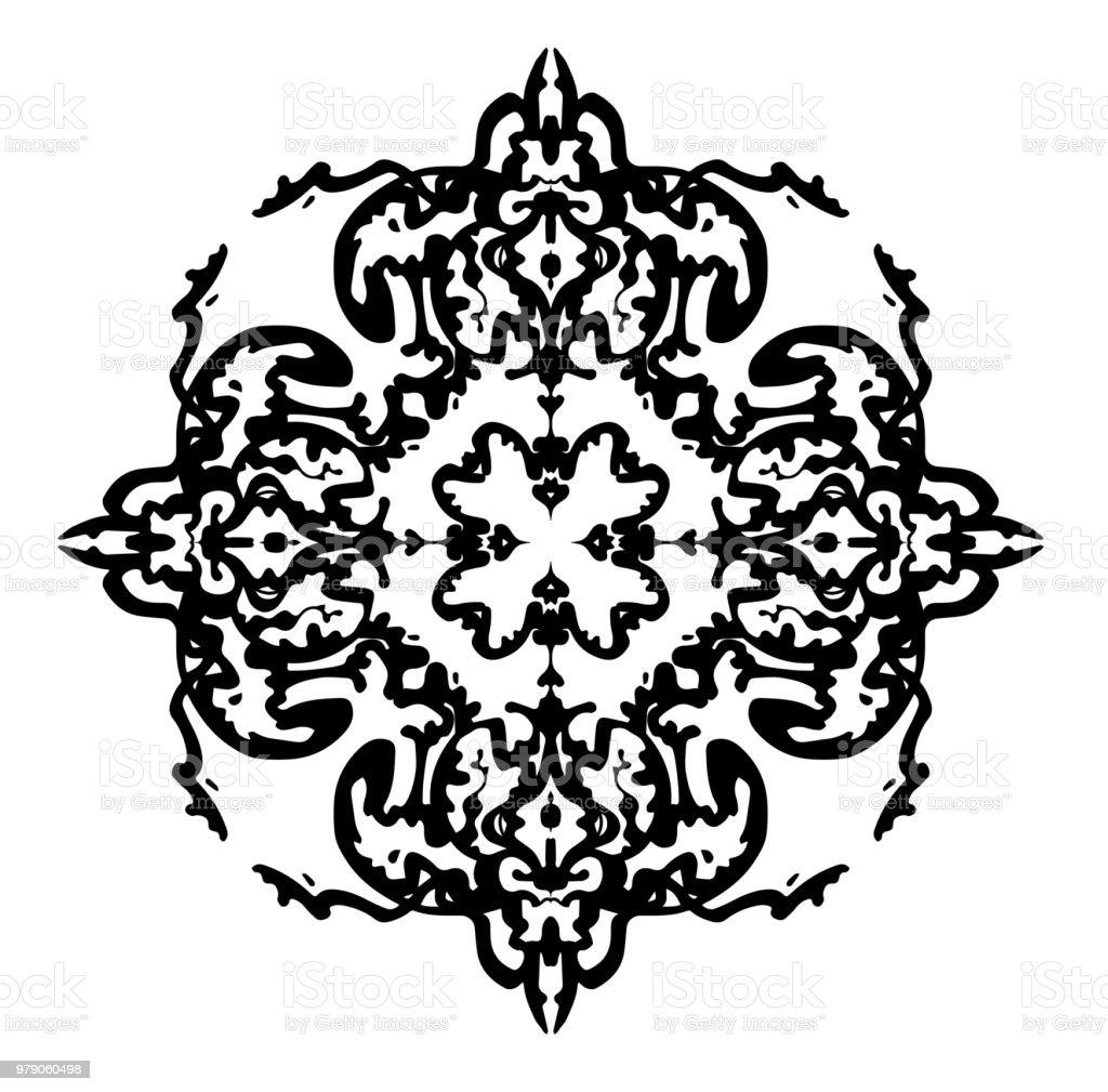 Designelement i jugendstil. svart vektor silhuett. Handritade stil vektorkonstillustration