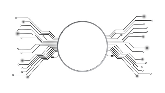 Design element in techno style with copy space silver circle with PCB tracks isolated on white. Template for website or banner. Vector illustration.