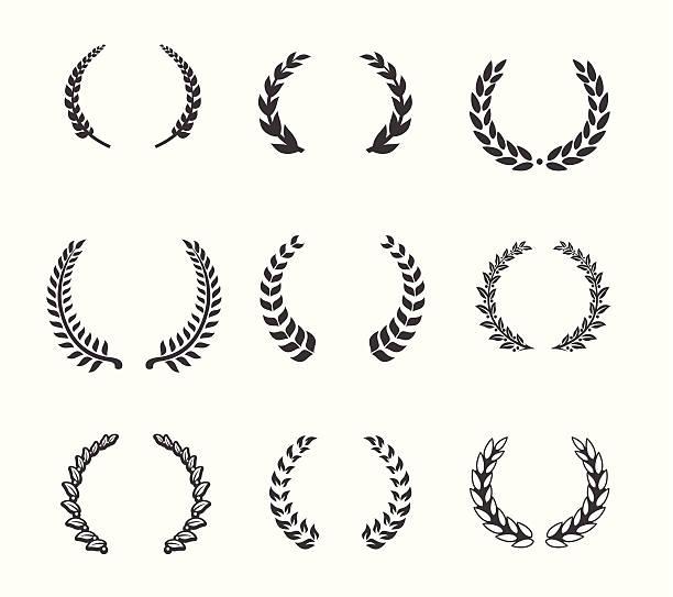Design element - Laurels and Wreaths Set of design elements for you website or application bay tree stock illustrations