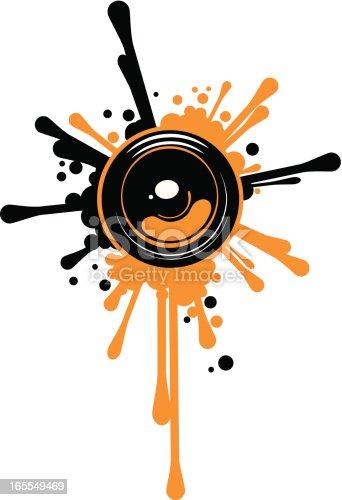 istock Design element of a speaker blasting paint splatters 165549469