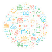 Design Element of Bakery. Pattern Design with Outline Icons. Colorful Vector Illustration