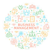 Design Element of Business Management. Pattern Design with Outline Icons. Colorful Vector Illustration