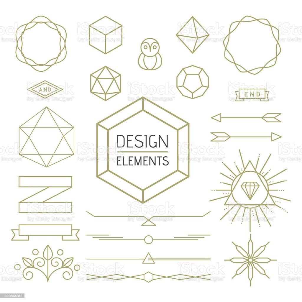 Design element set mono line art geometry symbol