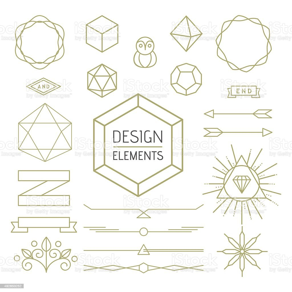 Design element set mono line art geometry symbol vector art illustration