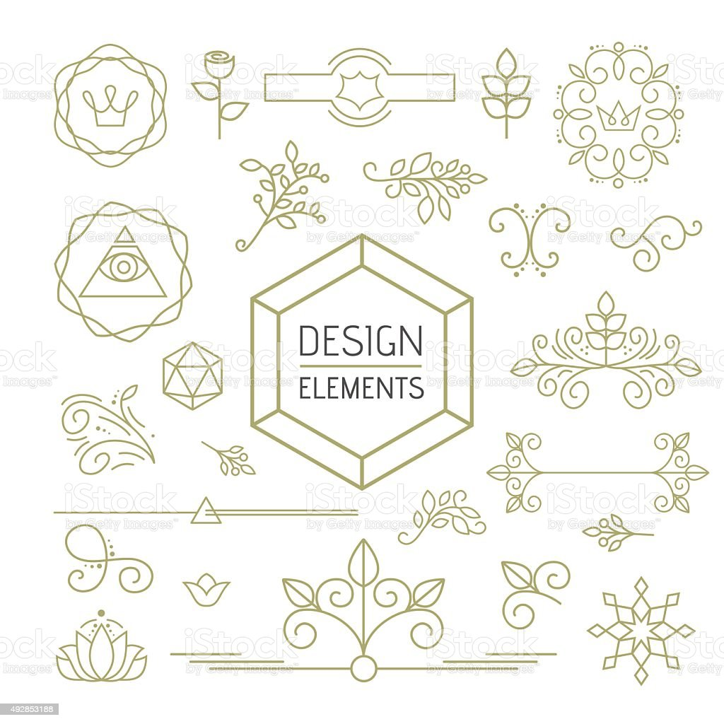Design element set mono line art ornamental nature vector art illustration