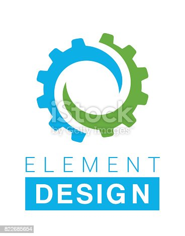 Design and icon element in blue and green colors.