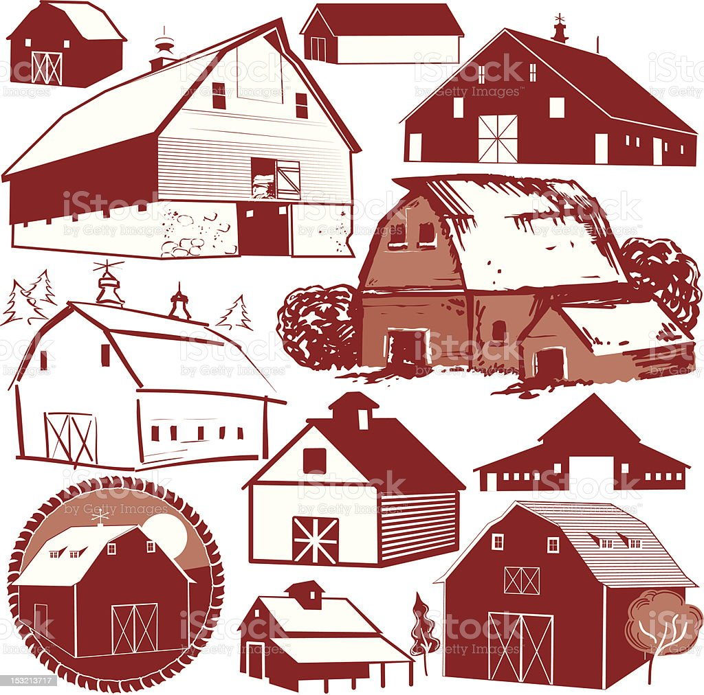 Design Elements - Barns vector art illustration