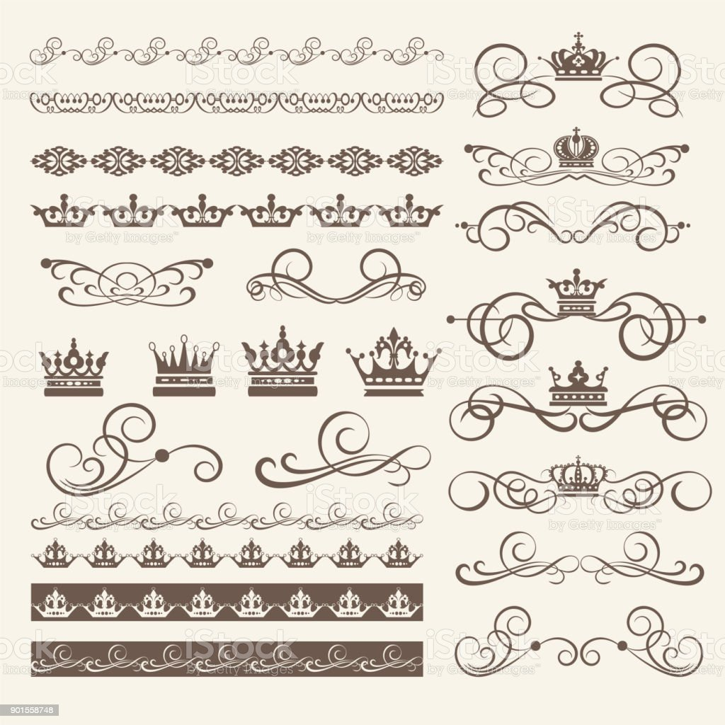Design Elements, Border, Frame and Swirls. Vector image vector art illustration