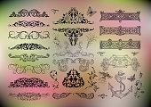 Illustration of floral design elements, dividers or borders