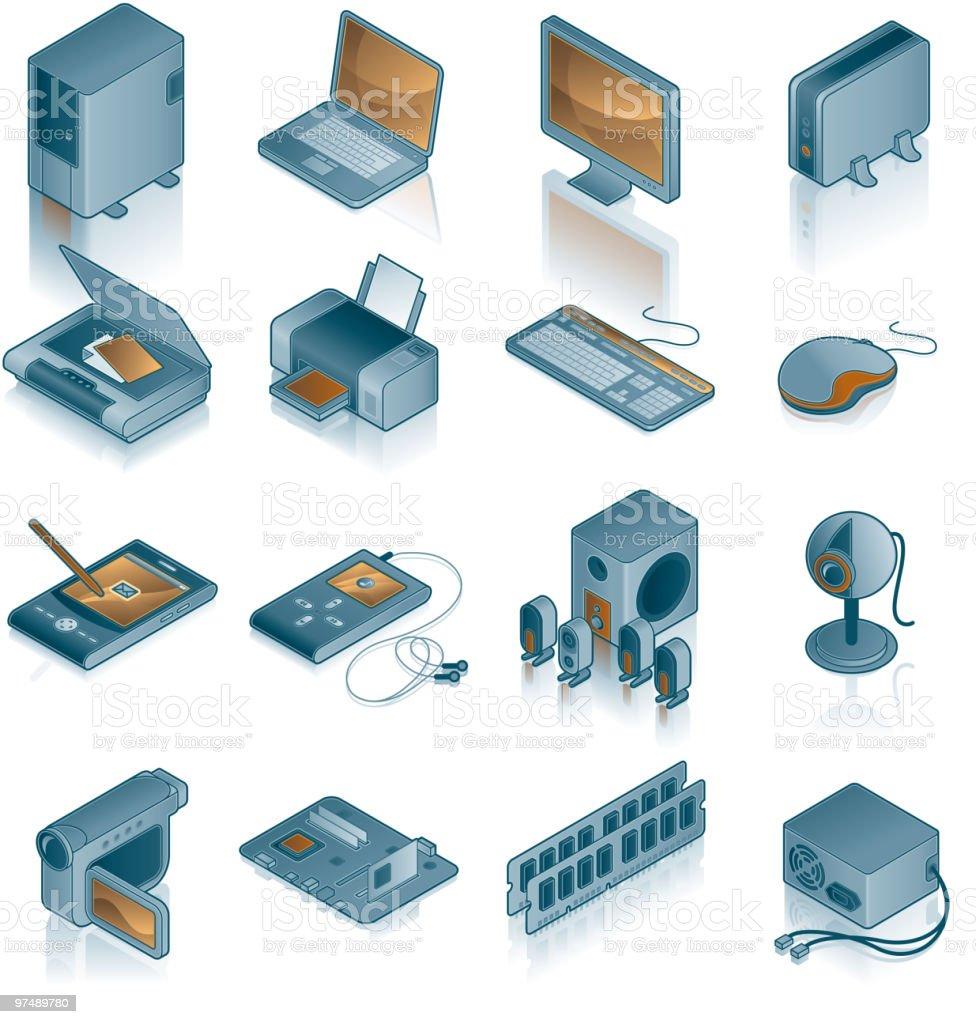 Design Elements. Computer Hardware Icons Set vector art illustration