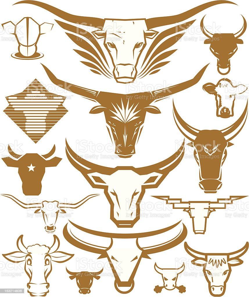 Design Elements - Cow Heads royalty-free stock vector art