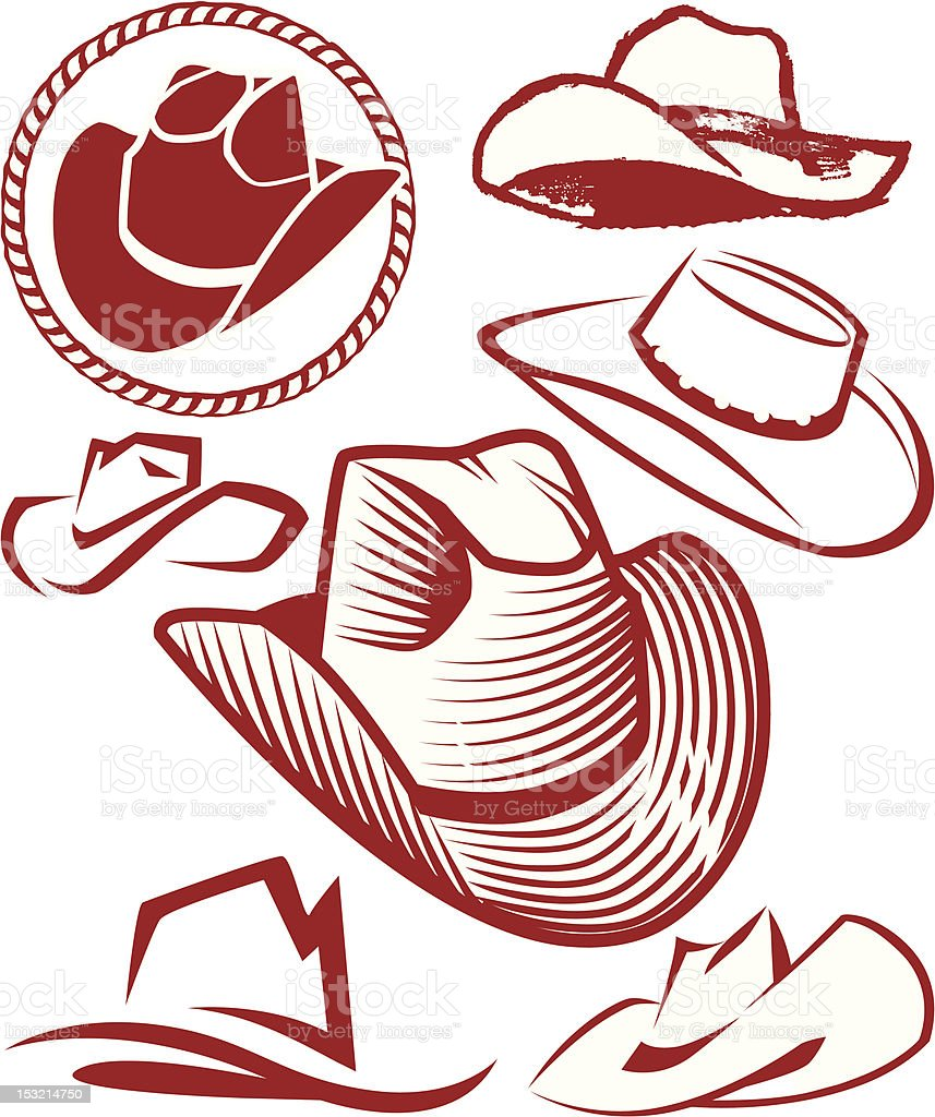Design Elements - Cowboy Hats vector art illustration