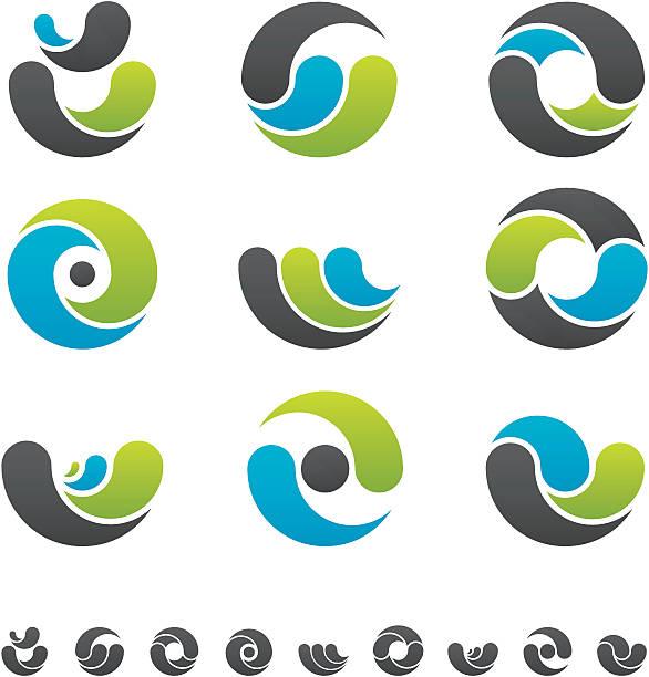 Design Elements - Curves Graphic Design Elements Illustration Set. yin yang symbol stock illustrations