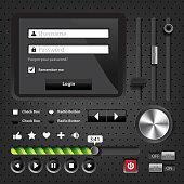 Design elements Dark User Interface Controls with login window