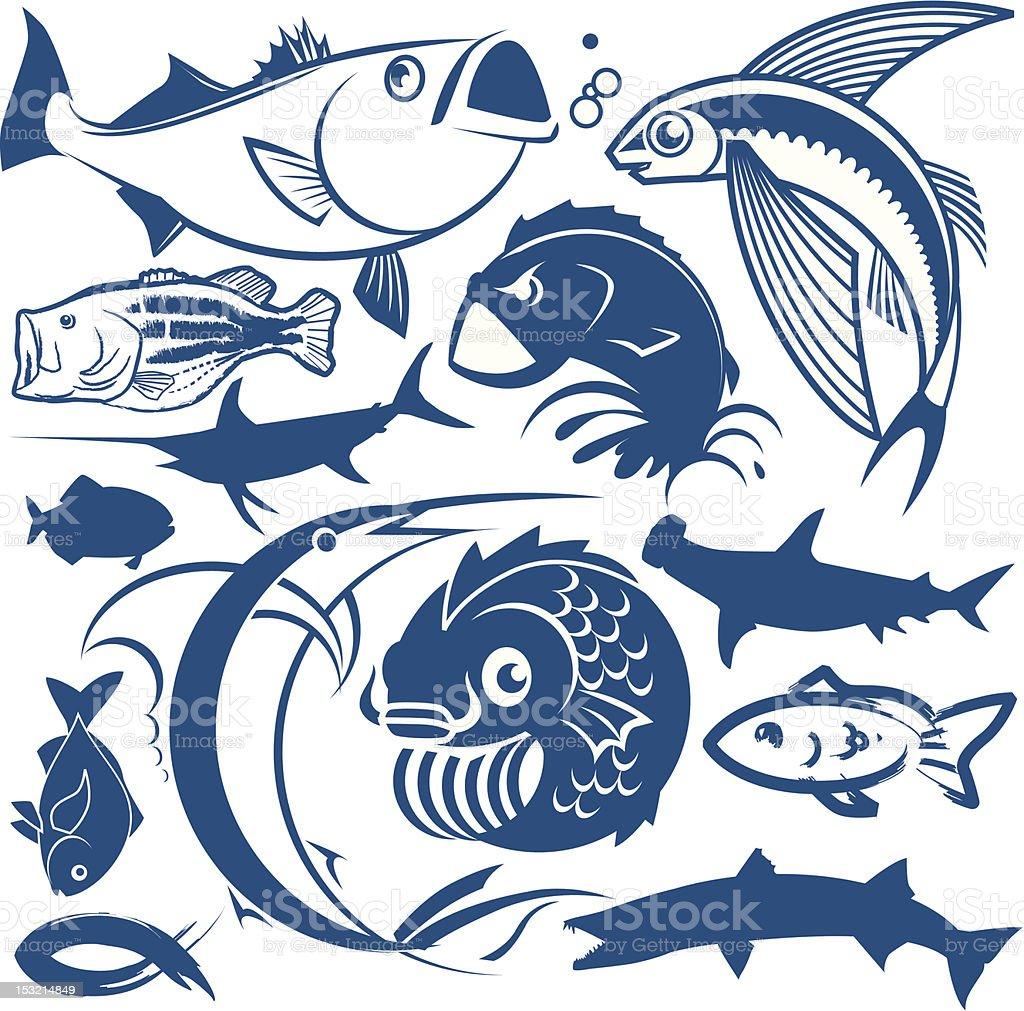 デザイン要素魚 - アイコンセットのベクターアート素材や画像を多数ご