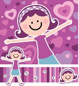 Vector illustration - Design Elements For Happy Mother's Day: Giving Mom A Hug.
