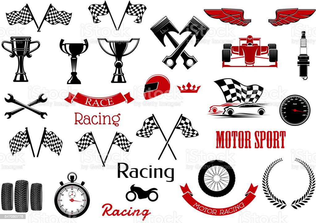 Design elements for motosport and racing vector art illustration