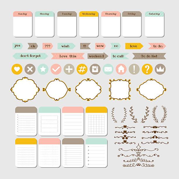 illustrazioni stock, clip art, cartoni animati e icone di tendenza di design elements for website. template for notebooks - to do list
