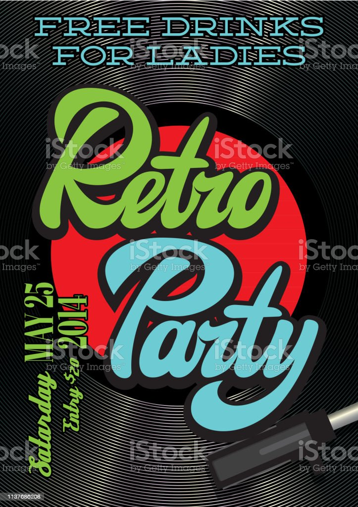 Design elements in retro style with vinyl record and stylish...