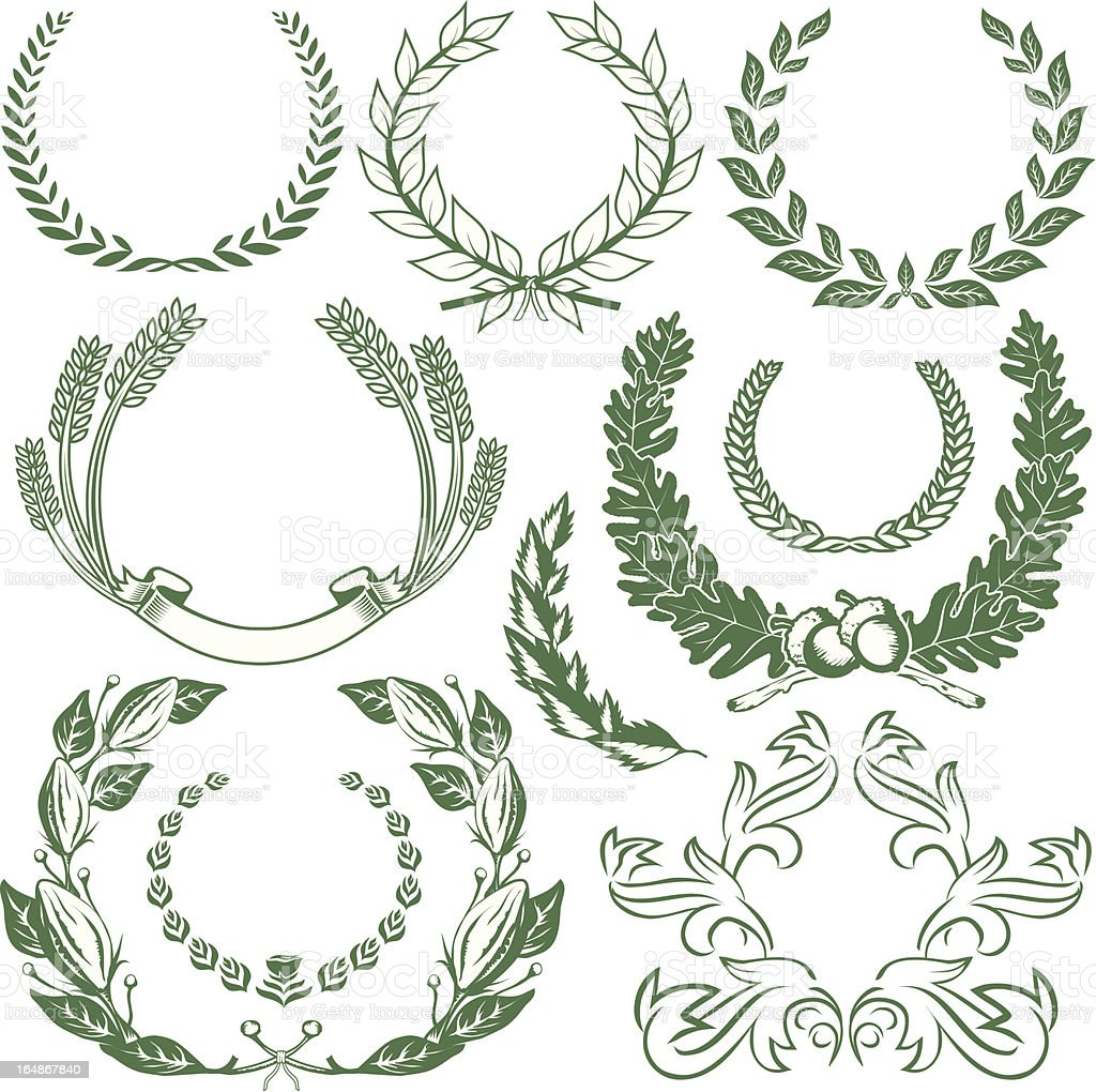 Design Elements - Laurels & Wreaths vector art illustration