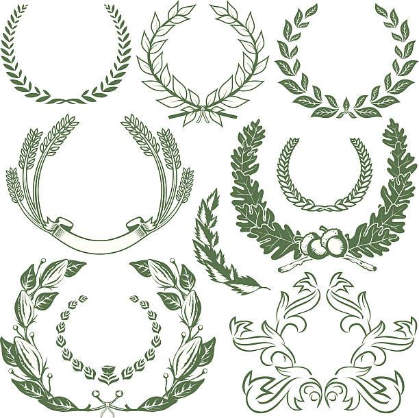 stockillustraties, clipart, cartoons en iconen met design elements - laurels & wreaths - klimop