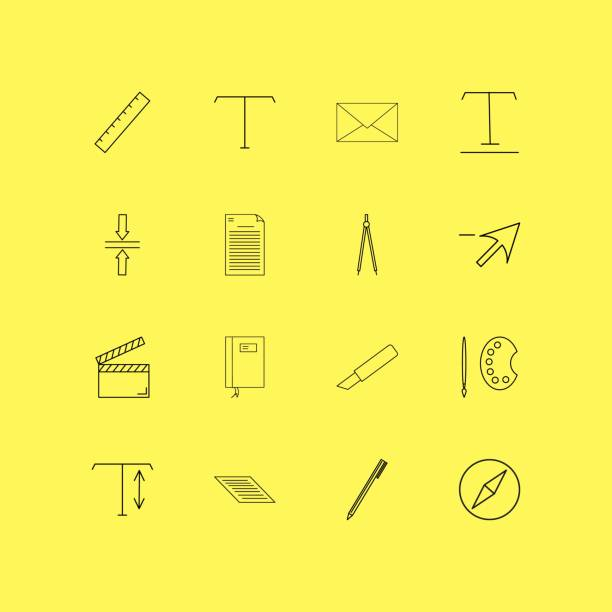 Design Elements linear icon set. Simple outline icons vector art illustration