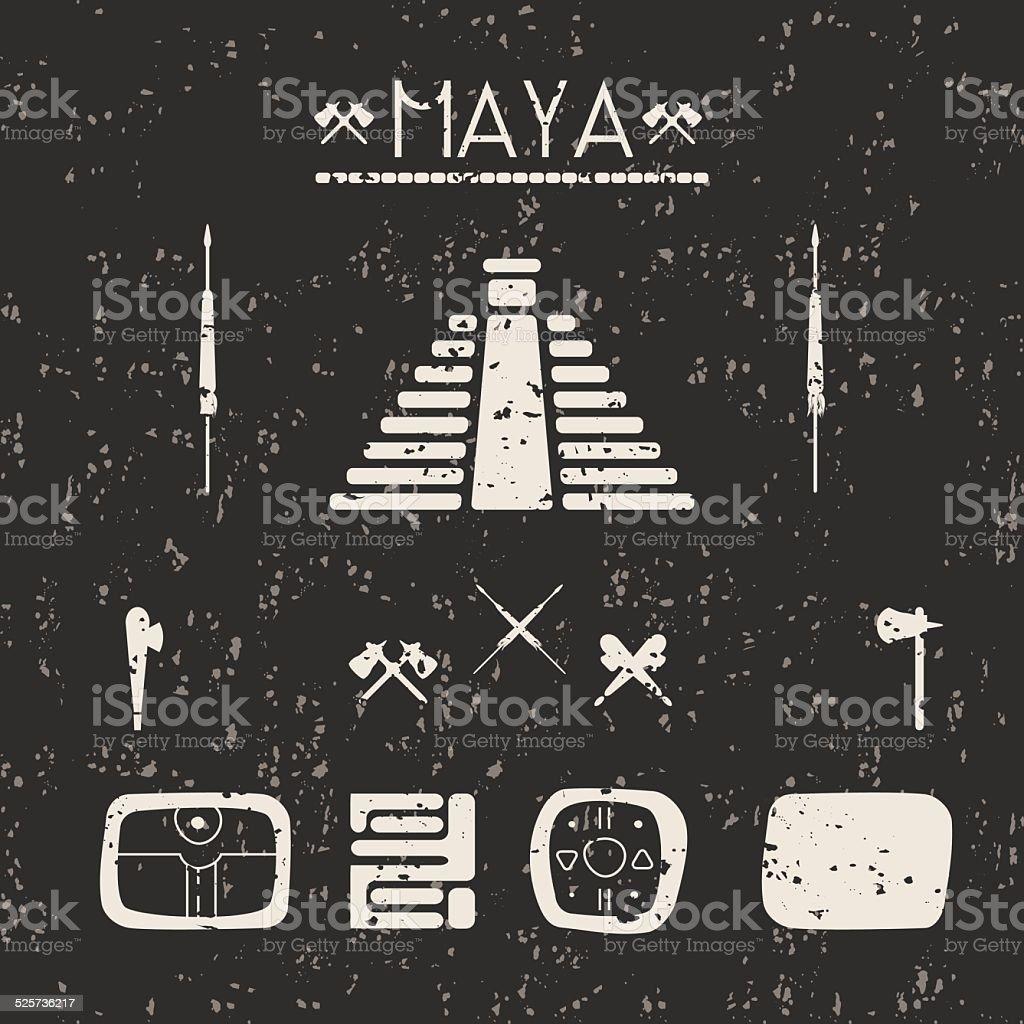 Design elements mystical signs and symbols of the Maya. vector art illustration