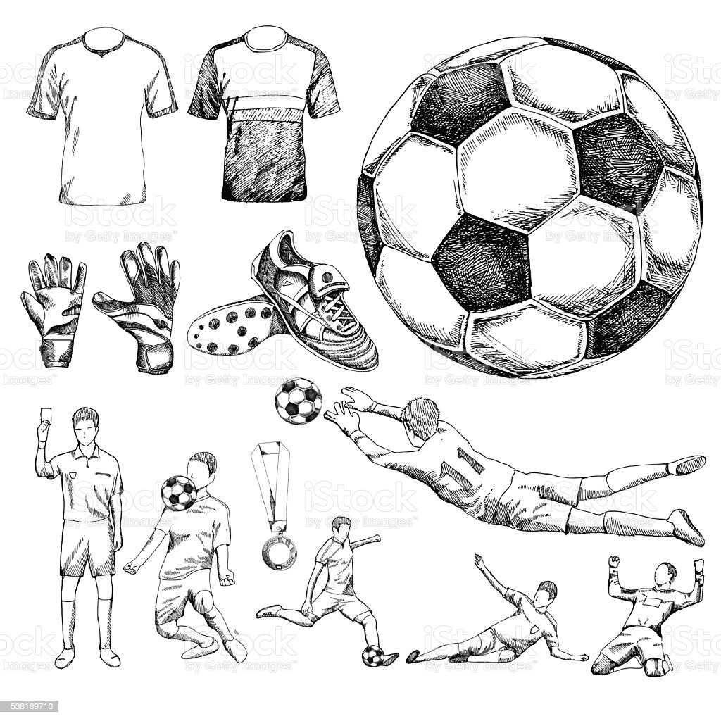 Design elements of soccer vector art illustration