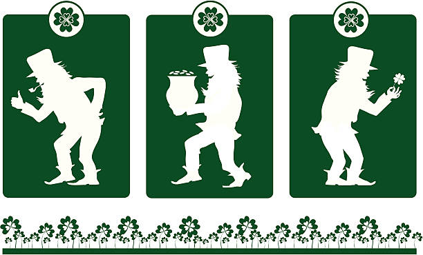 design elements on st patrick's day - old man smoking pipe cartoons stock illustrations, clip art, cartoons, & icons