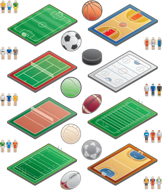bildbanksillustrationer, clip art samt tecknat material och ikoner med design elements. playgrounds icons set - handboll