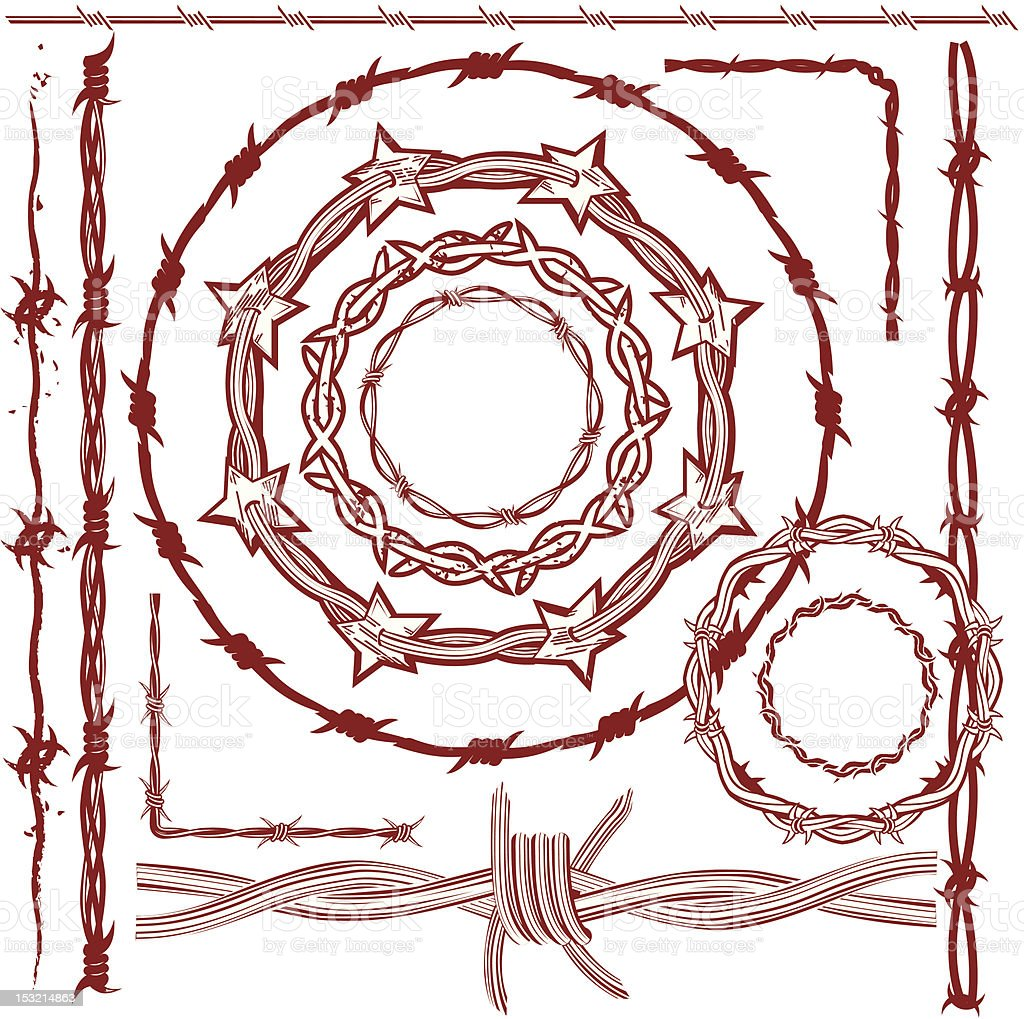 Design Elements - Rusty Red Barbed Wire vector art illustration