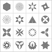 Design elements set. Abstract geometric striped black and white icons. Vector art.