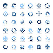 Design elements set. Abstract icons in blue colors. Vector art.