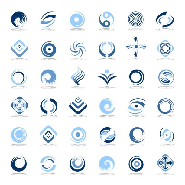 design elements set. abstract icons in blue colors. - swirl pattern stock illustrations